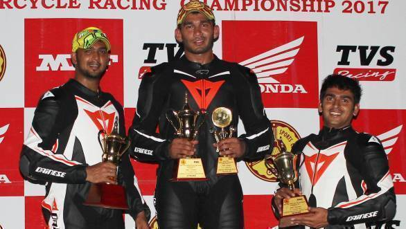 Hemanth Muddappa, winner in the Unrestricted class, flanked by second placed Rameez Khan (left) and Rizwan Khan
