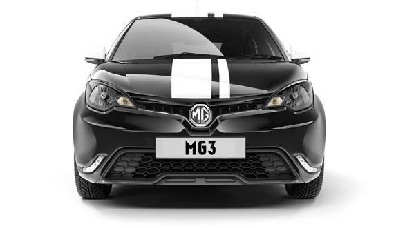 MG3 Front on CG studio image - Newton Black with Trophy stripe graphics pack