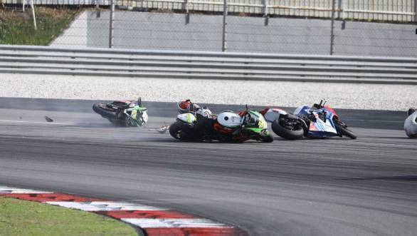 A crash in Race 1 left Rajini with a damaged motorcycle and an injury too