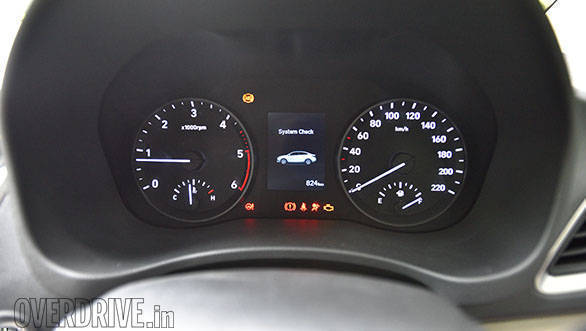The instrument cluster is typical Hyundai fare in the new Verna