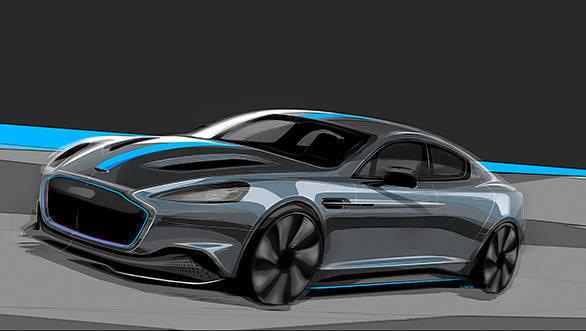 Aston Martin RapidE front 3/4 Sketch