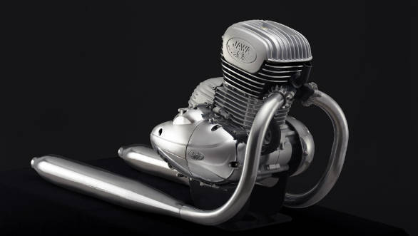 The new Jawa-branded engine is styled to look like the Jawa or Yezdi branded motorcycles from Indian motorcycle history