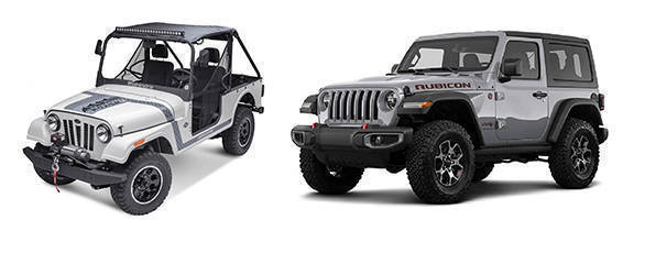Left - Mahindra Roxor. Right Jeep Wrangler Rubicon.
