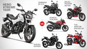 Specification comparison: Hero Xtreme 160R vs TVS Apache RTR 160 4V vs Bajaj Pulsar NS160 vs Suzuki Gixxer 155 vs Yamaha FZ-S Fi V3.0 vs Honda X-Blade