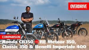 Honda H'ness CB350 vs Royal Enfield Meteor 350, Classic 350 & Benelli Imperiale 400