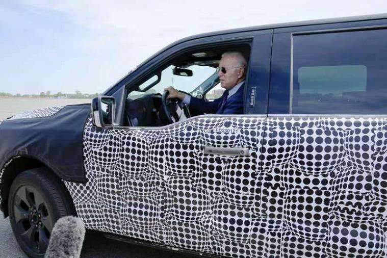 US President Joe Biden, test drives an electric Ford F-150 Lightning pickup
